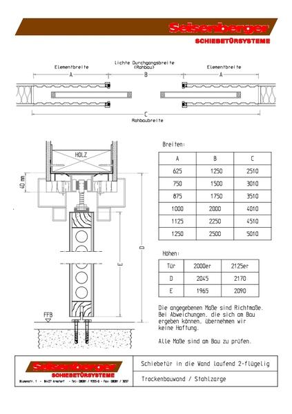 Stahlzarge trockenbau  Seisenberger Schiebetürsysteme GmbH - Zeichnungen